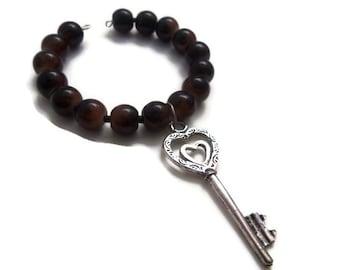 Glass Bead Bracelet with Key Pendant - Bangle - Charm Bracelet - Arm Party - Homemade Jewelry