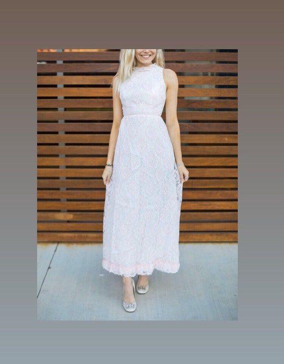 Vintage 1950's Pastel Pink Lace Prom Dress