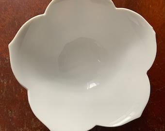 Vintage tulip bowl, small white bowl, dipping bowl