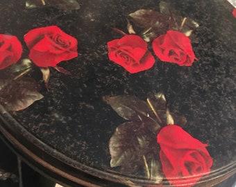 Vintage tin, floral tin, roses, round tin, cookie tin, biscuit tin, birthday
