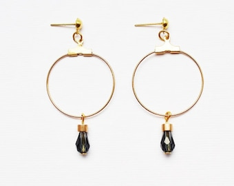 Blue and gold earrings - Minimalistic gold dangle earrings with Czech glass beads - Studio jewellery by Cities of Gold