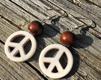 Ceramic & Wood Peace Sign Dangling Earrings