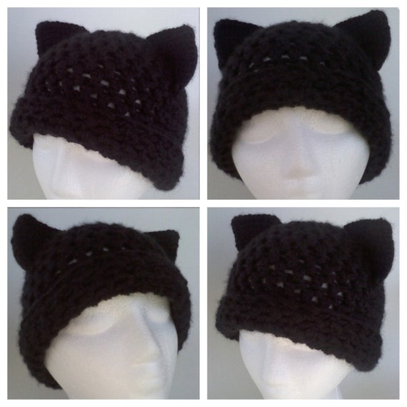 Cat hat pattern adult cat hat crochet cat hat pattern black  4a8ec0e41db
