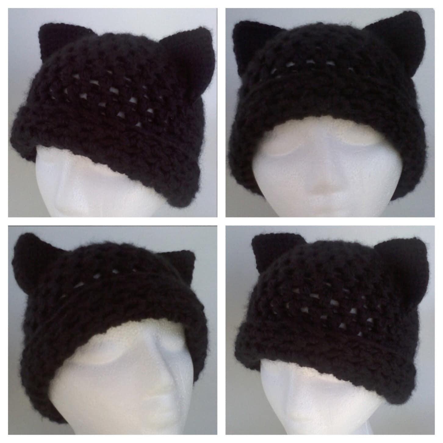 Cat Hat Pattern Adult Cat Hat Crochet Cat Hat Pattern Black Etsy