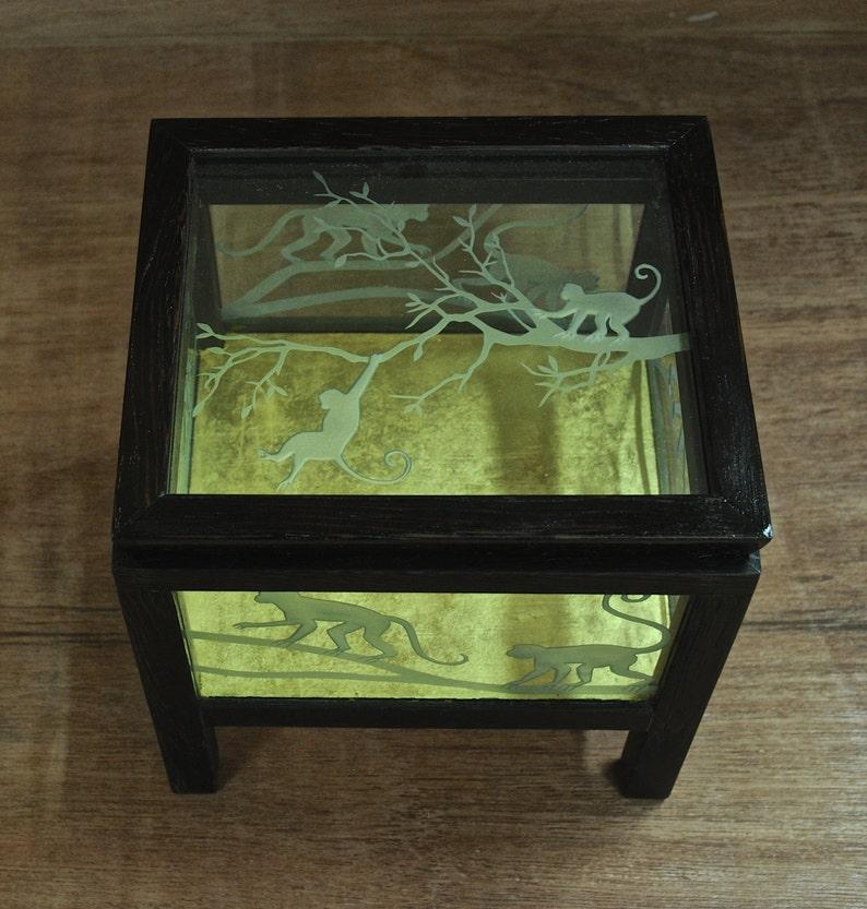 Etched Glass Monkey Box-OOAK image 0
