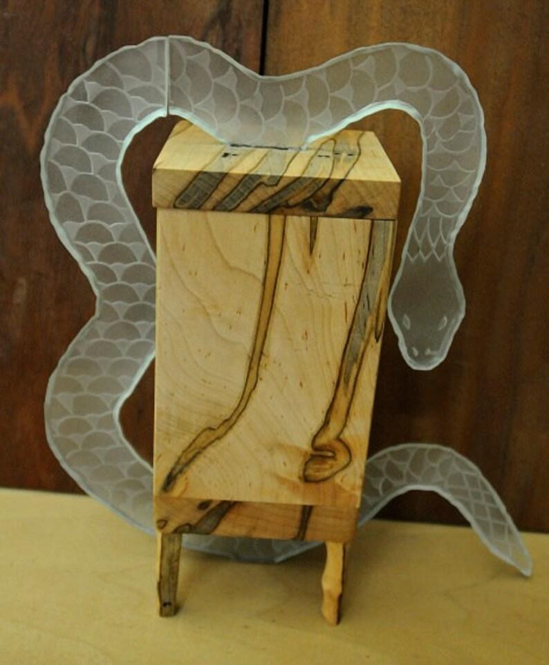 Ambrosia Maple Box with Glass Snake-OOAK image 0