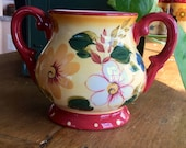 Vintage Sugar Bowl Sunset Bouquet Pattern by Oneida, No Lid, Hand Painted , Cheery Warm Yellow with Flowers, Country Charm
