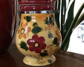 Large Canister - Sunset Bouquet by Oneida with Hinged Locking Lid - Vintage Kitchenware - Cheery Yellow Floral