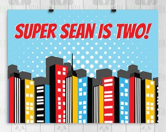 Superhero Birthday Backdrop PRINTED Superman Party Decorations Cake Table Poster Sign