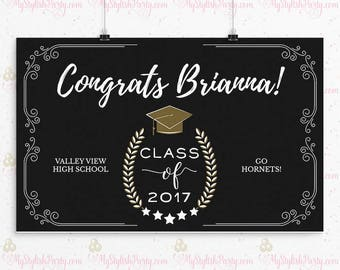 graduation backdrop printed personalized graduation banner etsy