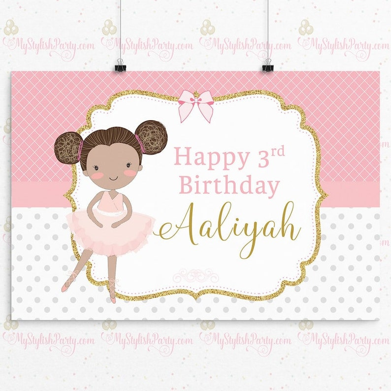 Ballerina Birthday Party Sign Ballerina Birthday Sign Cake Table Sign Photo Booth PRINTED African American
