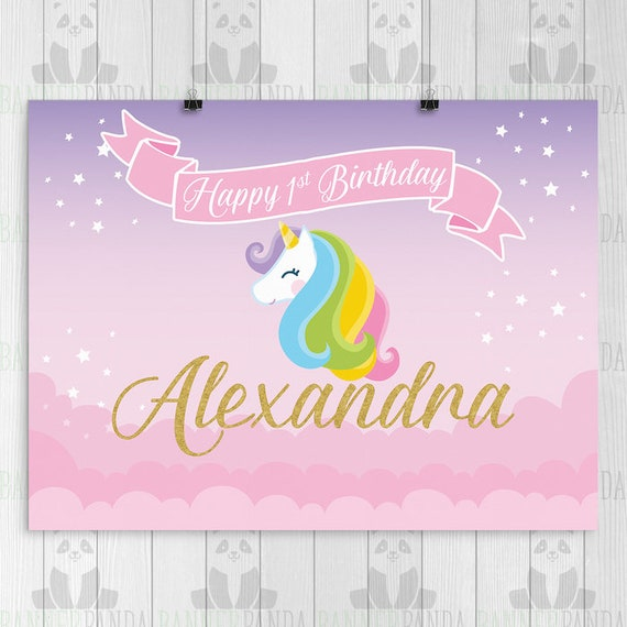Unicorn Birthday Backdrop PRINTED Party Banner Decorations Cake Table Poster Sign