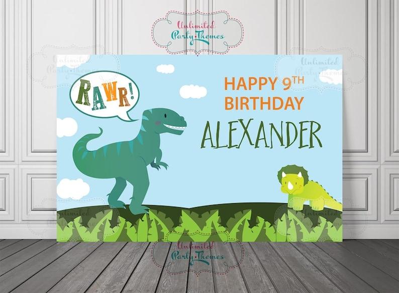 PRINTED Dinosaur Birthday Banner T Rex Party Decorations