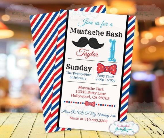 Mustache Birthday Invitation Printed Little Man Birthday Etsy