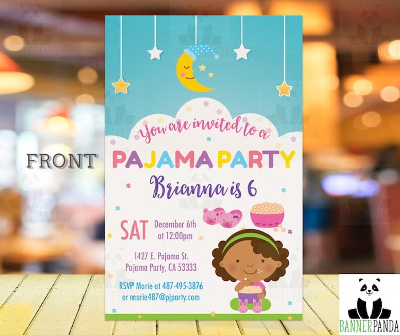 African American SleepOver Birthday Invite PRINTED Slumber Party Invitation Birthday Girl Invitation Birthday Party Invitation