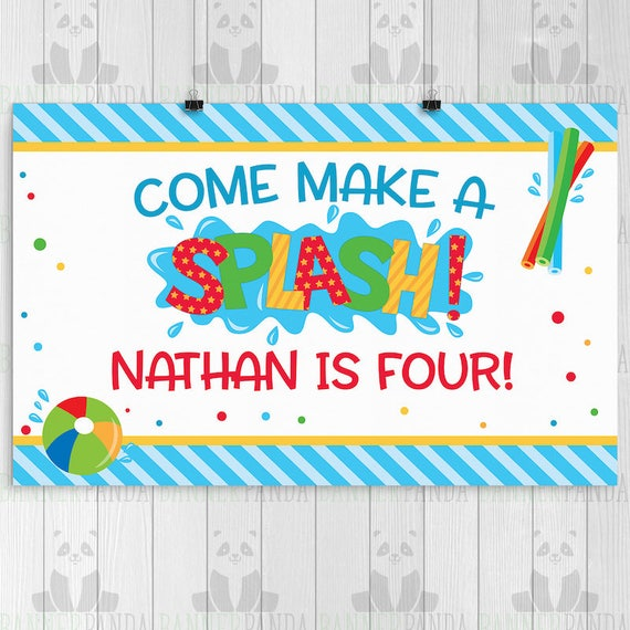 Printed Pool Party Birthday Banner Pool Party Birthday Backdrop