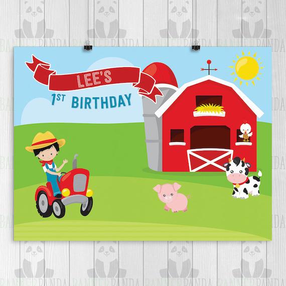 Brilliant Farm Birthday Party Sign Printed Barnyard Birthday Cake Etsy Funny Birthday Cards Online Inifodamsfinfo