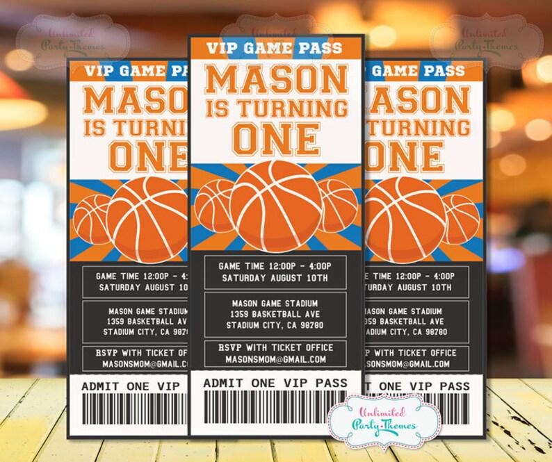 Basketball Invitations Printed Basketball Birthday Party Etsy