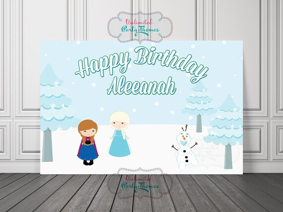 Snow Queen Birthday Backdrop PRINTED Party Banner Frozen Decorations Cake Table Poster Sign