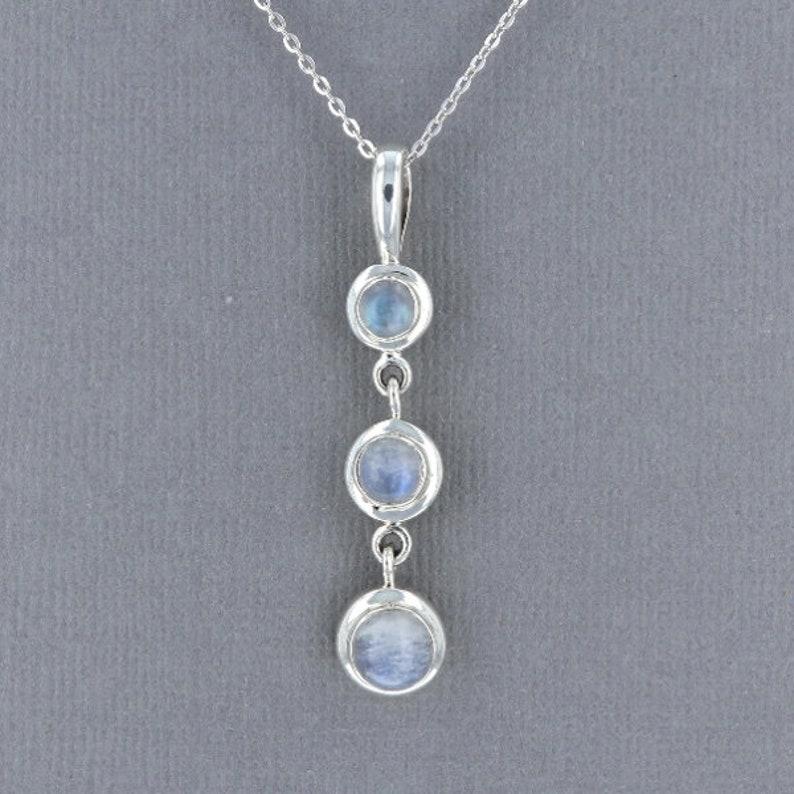 Three Stone Labradorite Pendant in Sterling Silver