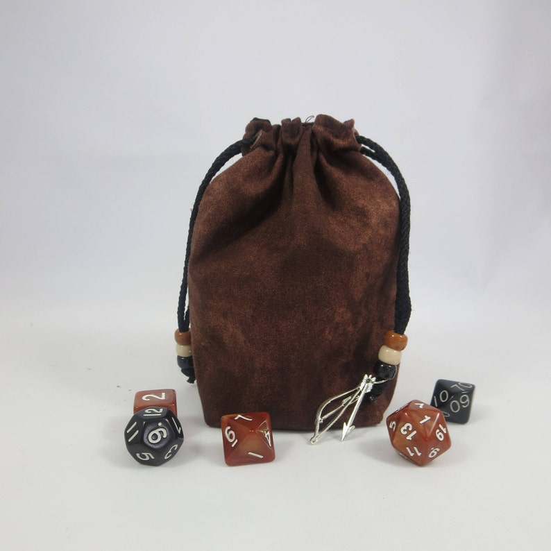 Medium Size  Fabric Bag  Drawstring Pouch  Dice Bag  Gaming Bag  with or without beads Brown