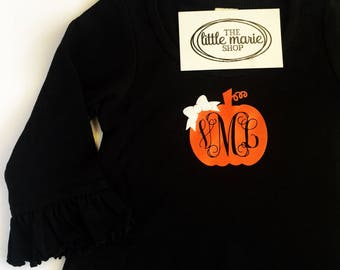 Custom Pumpkin Monogram Dress with Ruffles - 3/4 Sleeve - Infant and Toddler Sizes!