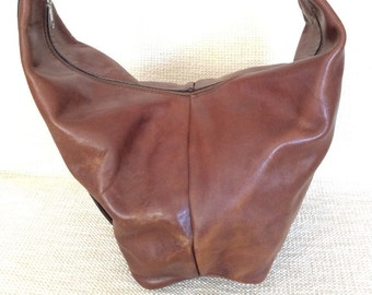 Genuine vintage tan leather shoulder bag sling slouchy