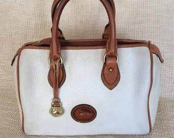 Genuine vintage DOONEY & BOURKE white leather satchel bag AWL speedy
