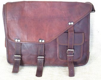 Vintage amazing distressed brown waxed leather messenger travel bag crossbody