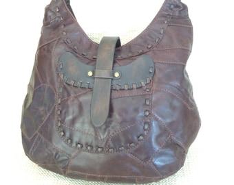 b6c1522744 Vintage LUCKY BRAND brown patchwork leather shoulder bag purse