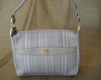 3a5b5569f3a6 Vintage GIVENCHY Paris beige leather and canvas shoulder bag hobo 80s