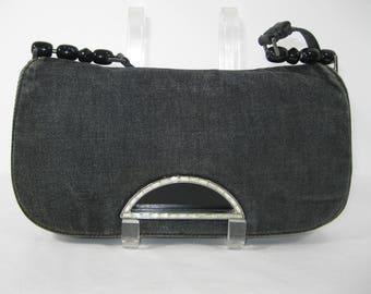 Genuine vintage CHRISTIAN DIOR black denim jeweled shoulder bag purse 90s