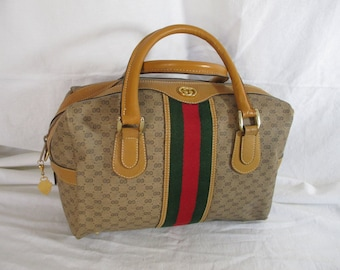 959f740628e Vintage GUCCI tan signature Boston leather and canvas speedy satchel bag  with stripes