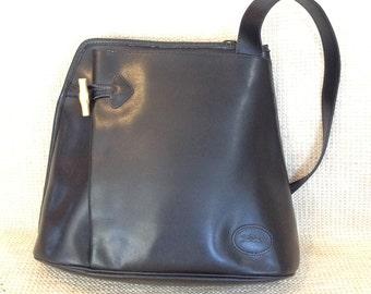 Genuine LONGCHAMP Paris black leather napsac shoulder bag 47bfd0a461
