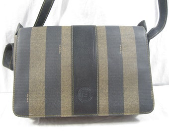 3a3c07a71a Genuine vintage Fendi black stripes saddle bag crossbody front flap 90s