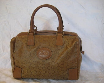 b17ccebab779 Vintage tan iconic CELINE Paris signature logo satchel bag speedy