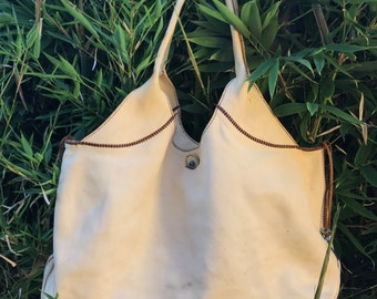 Genuine vintage HENRY CUIR BEGUELIN beige leather tote bag hippie chic large 4b7a07c80fafc