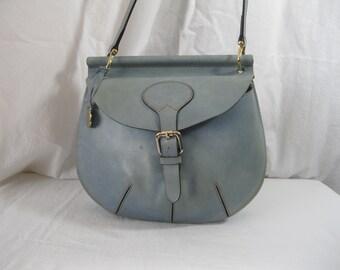 Vintage DOONEY   BOURKE powder blue leather cross body bag flap dc43b616ddd82