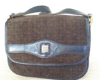 bb4b66bc7704 Genuine vintage LANVIN suede and leather navy accordion shoulder bag purse