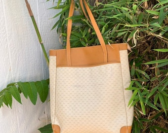 c0c0f0b2dfe9 Vintage Gucci tan signature leather and canvas shopping tote bag 90s  carryall
