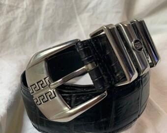 9593dae7de Genuine vintage men GIANNI VERSACE V2 black leather belt large 100 US size  40 90s chic
