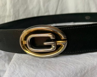 b186c2b56 Vintage iconic GUCCI logo black leather belt size 34 modified unisex