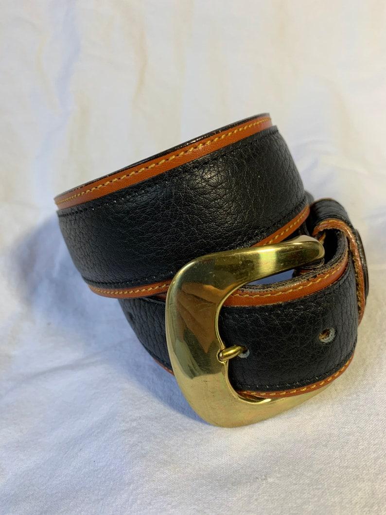 Nice vintage DOONEY /& BOURKE Palomino black tan leather belt S 26-28