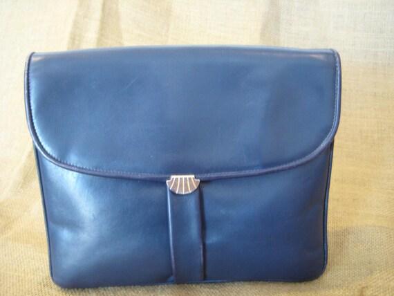 d7983a5b42c6 Vintage Salvatore Ferragamo navy blue leather clutch with