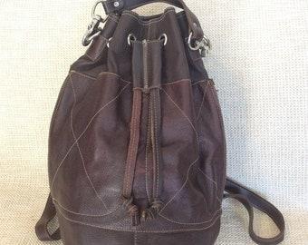 15% SUMMER SALE Genuine vintage brown leather backpack drawstring bag