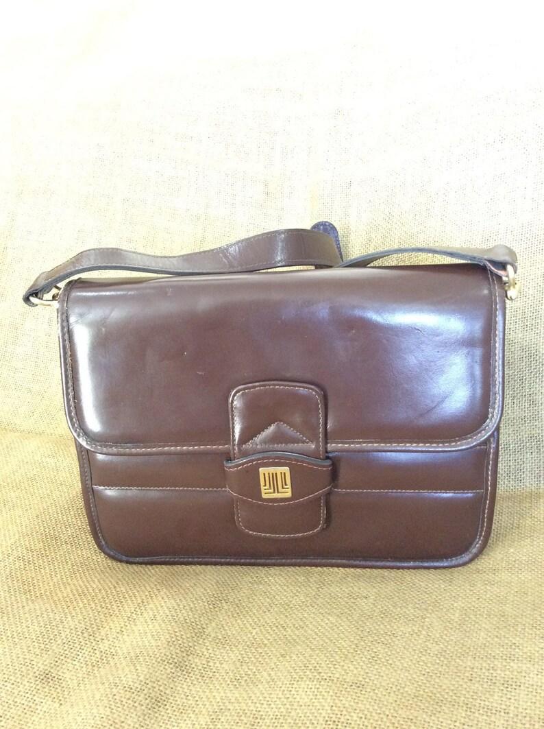 e911ddb79f11 Rare vintage LANVIN Paris brown leather logo front flap | Etsy