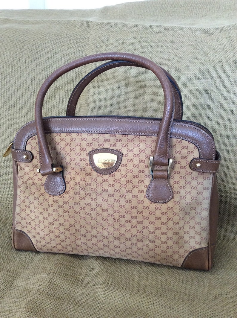91780c63173 Vintage GUCCI tan brown signature leather and canvas satchel