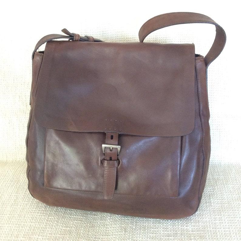 ff7afdac3abc Genuine vintage PRADA large brown lambskin flap shoulder bag | Etsy