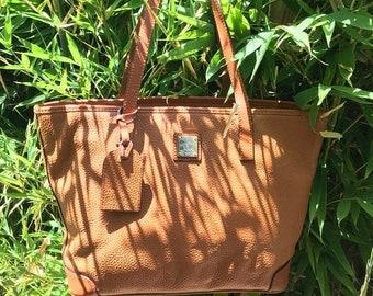 15% SUMMER SALE Vintage DOONEY & Bourke tan pebbled leather tote shopper bag All Weather Leather