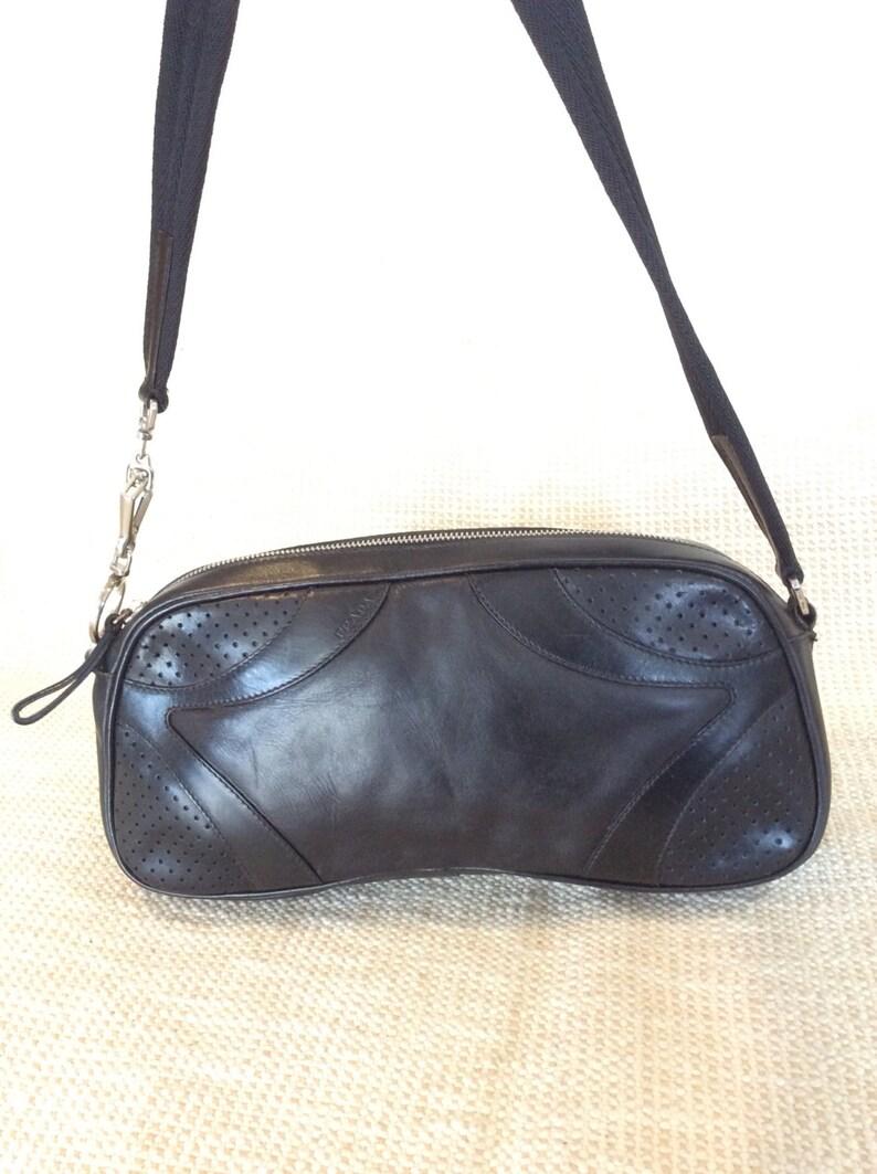 7f4dd090cbaf Genuine vintage PRADA perforated bowler black leather bag | Etsy